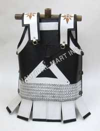 Leather Medieval Armor Jacket with White Strip