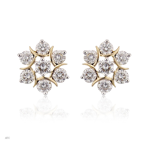Avsar Real Gold and Diamond Traditional Seven Stone Earrings # AVE009