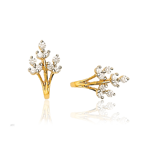 Avsar Real Gold and Diamond Fashion Tree Earrings # AVE010