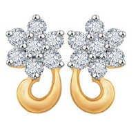 Avsar Real Gold and Diamond Fancy Flower Shape Earrings # AVE022