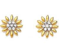 Avsar Real Gold and Diamond sun-Flower Shape Earring # AVE025