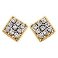 Avsar Real Gold and Diamond Fancy Square Shape Earring # AVE031