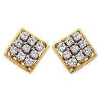 Avsar Real Gold and Diamond Fancy Square Shape Earring # AVE031