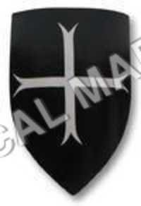 Black Wooden Medieval Shield White Cross