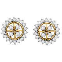 Avsar Real Gold and Diamond Fourty four Stone Traditinol Round Shape Earring # AVE035
