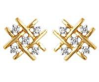 Avsar Real Gold and Diamond Fancy Jali Shape Earring AVE048
