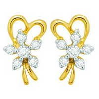 Avsar Real Gold and Diamond Fancy Ribbon Earring  # AVE050