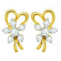 Avsar Real Gold and Diamond Fancy Ribbon Earring  # AVE050