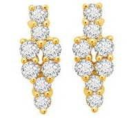 Avsar Real Gold and Diamond Flower Bouquet Shape Earring #  AVE055