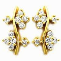 Avsar Real Gold and Diamond Fancy  Flower Dangling Earring #  AVE057