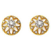 Avsar Real Gold and Diamond Beautiful Sun Flower Earring # AVE060