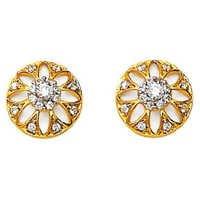 Avsar Real Gold and Diamond Beautiful Sun Flower Earring # AVE060