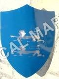 Embossed Steel Medieval Lion Shield in Blue