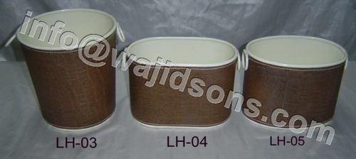 Metal Bucket with Leather