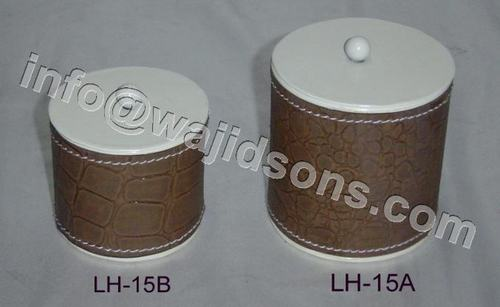 Metal Box Round with Lid with Leather