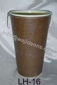 Round Metal Vase with Leather