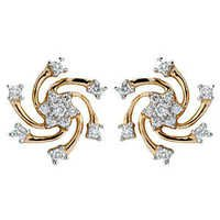 Avsar Real Gold and Diamond Sparkling Circular Earring # AVE0110