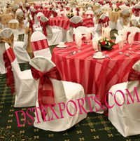 BANQUET HALL CHAIR COVER WITH RED SATIN SASHAS