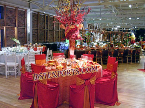 WEDDING RED CHAIR COVER WITH SASHAS
