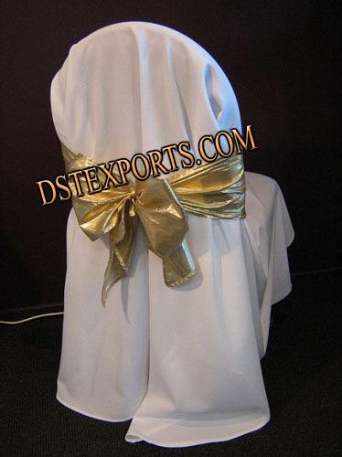 WEDDING CHAIR COVER WITH GOLDEN SASHA