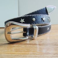 25MM Leather Belt with Star and Round Rivet (#003)