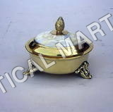 Solid Brass Powder Pot Mother Of Pearl