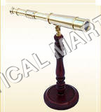 BRASS WOODEN TELESCOPE WITH WOODEN  BASE