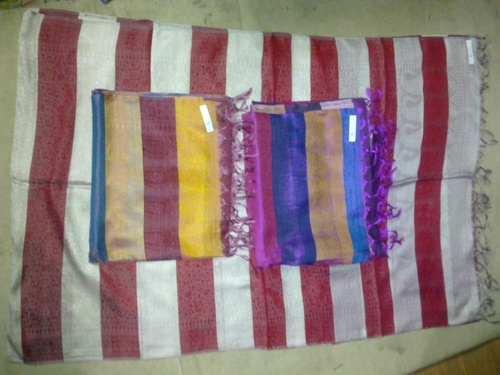 100% silk check scarfs