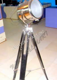 Aluminum Search Light With Black Wooden Stand