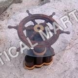 BRASS GLASS WOOD SHIP WHEEL TABLE