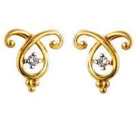 Unique Solitaire Diamond Studio  Two Stone Fancy Earrings # UQE018