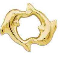 AU 18k Pure Yellow Gold Double Dolphins Pendant AUP002