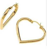 AU 18k Pure Yellow Gold Slim Heart Earring AUE003