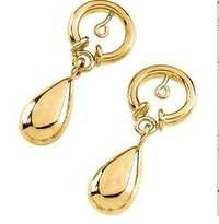AU 18k Pure Yellow Gold Drop With Circle Earring AUE004
