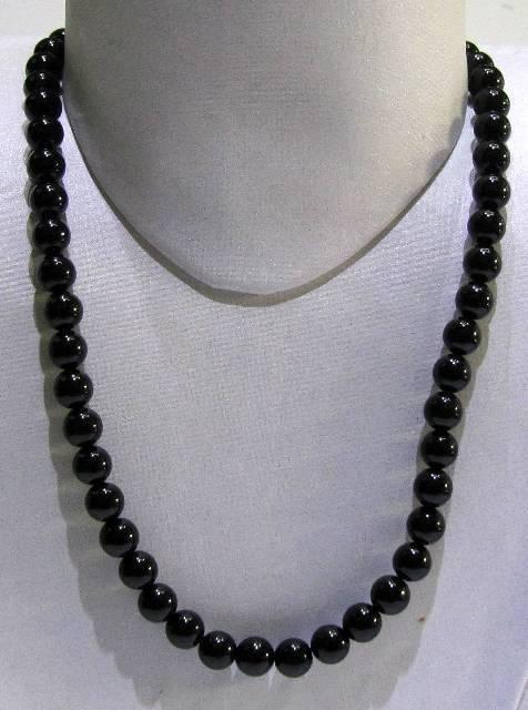 Black Onyx Plain Round Beads Strings