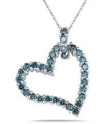 Ag Real Diamond Blue Heart Pendant # AGSP0007