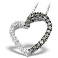 Ag Real Diamond Black & White Diamond Heart Pendant # AGSP0012