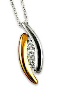 Ag Real Diamond Yellow & White Gold Plated Fashion Pendant # AGSP0028