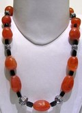 Red Carnelian And Black Beads