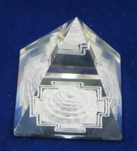 Quartz Crystal Pyramid U/C Shree Yantra