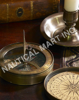 BRASS COMPASS WITH SEXTANT