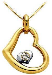 Ag Real Diamond Heart Into Heart Pendant # AGSP0045