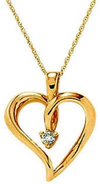 Ag Real Diamond Single Stone Leaf Heart Pendant # AGSP0047