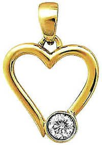 Ag Real Diamond Single Stone Fancy Heart Pendant # AGSP0048