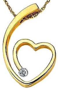 Ag Real Diamond Single Stone Fancy Heart Pendant # AGSP0049