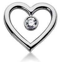 Ag Real Diamond Single Centre Stone Heart Pendant # AGSP0052