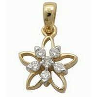 Ag Real Diamond Stone Beautiful Flower Shape Pendant # AGSP0061