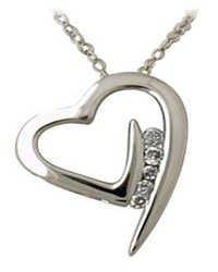 Ag Real Diamond Five Stones Fancy Heart Shape Pendant # AGSP0088