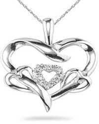Ag Real Diamond Nine Stones Lots Of Hearts Pendant # AGSP0091