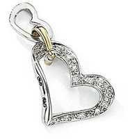 Ag Real Diamond Eleven Stones With Black Rhodium Heart Shape Pendant  # AGSP0095